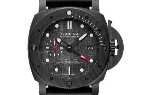 VS厂沛纳海1039-VS厂沛纳海炭纤维深灰帆船纹盘面黑白撞色复刻腕表