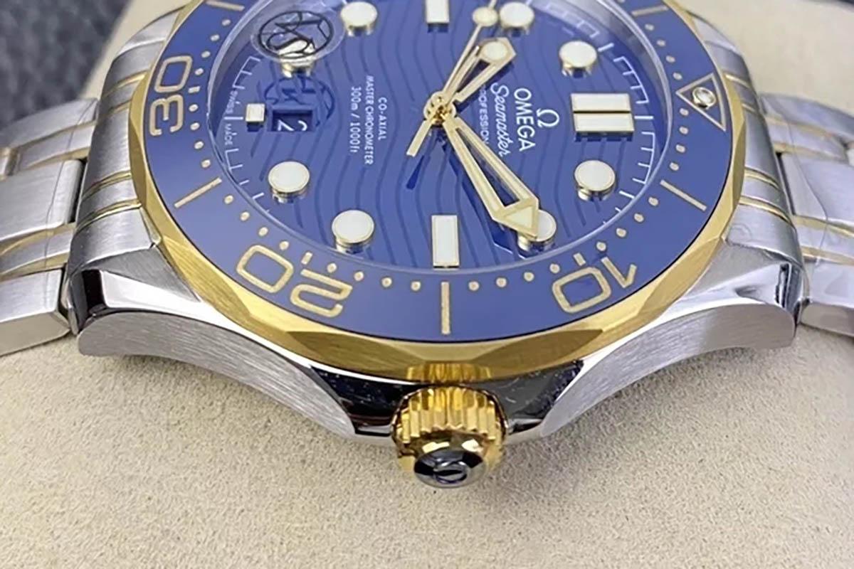 VS厂欧米茄海马间黄金款式蓝盘复刻腕表做工细节评测-品鉴VS厂腕表